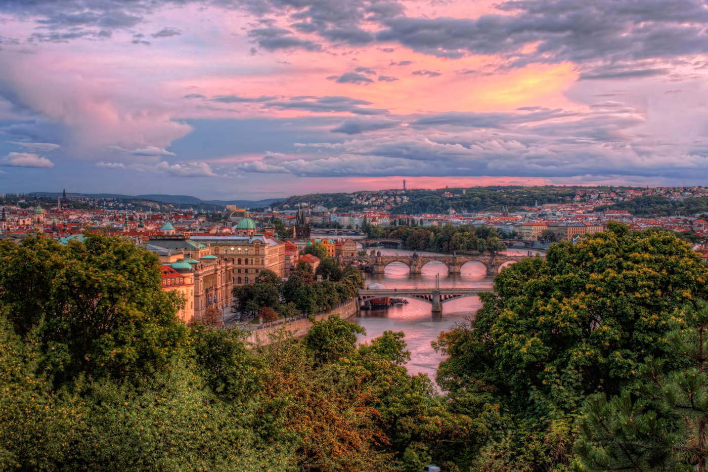 Pink Sky over Vlatava in Prague