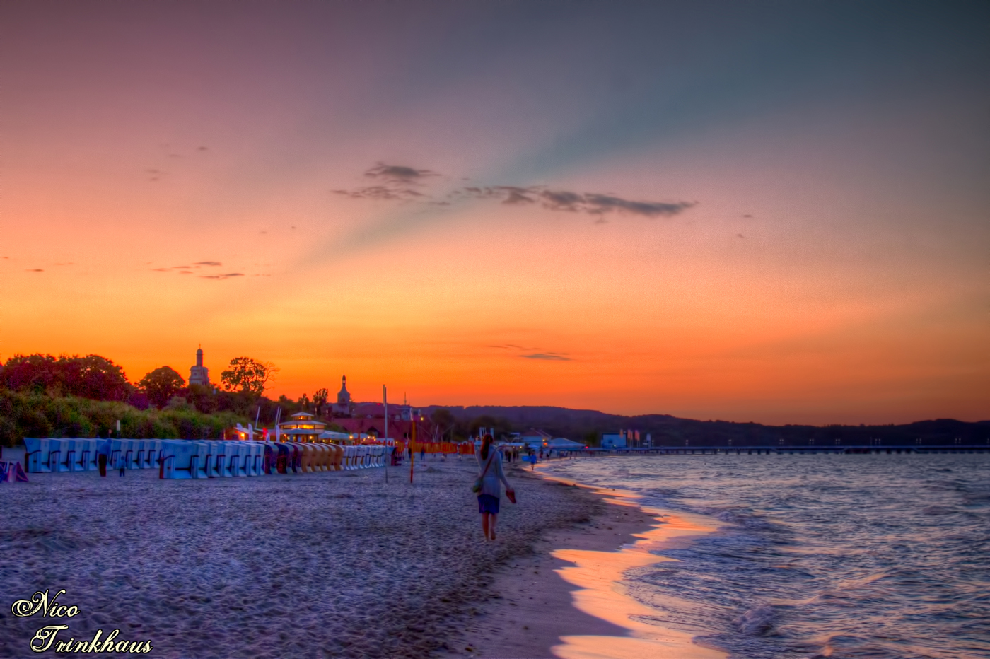 Sunset on the beach in Sopot