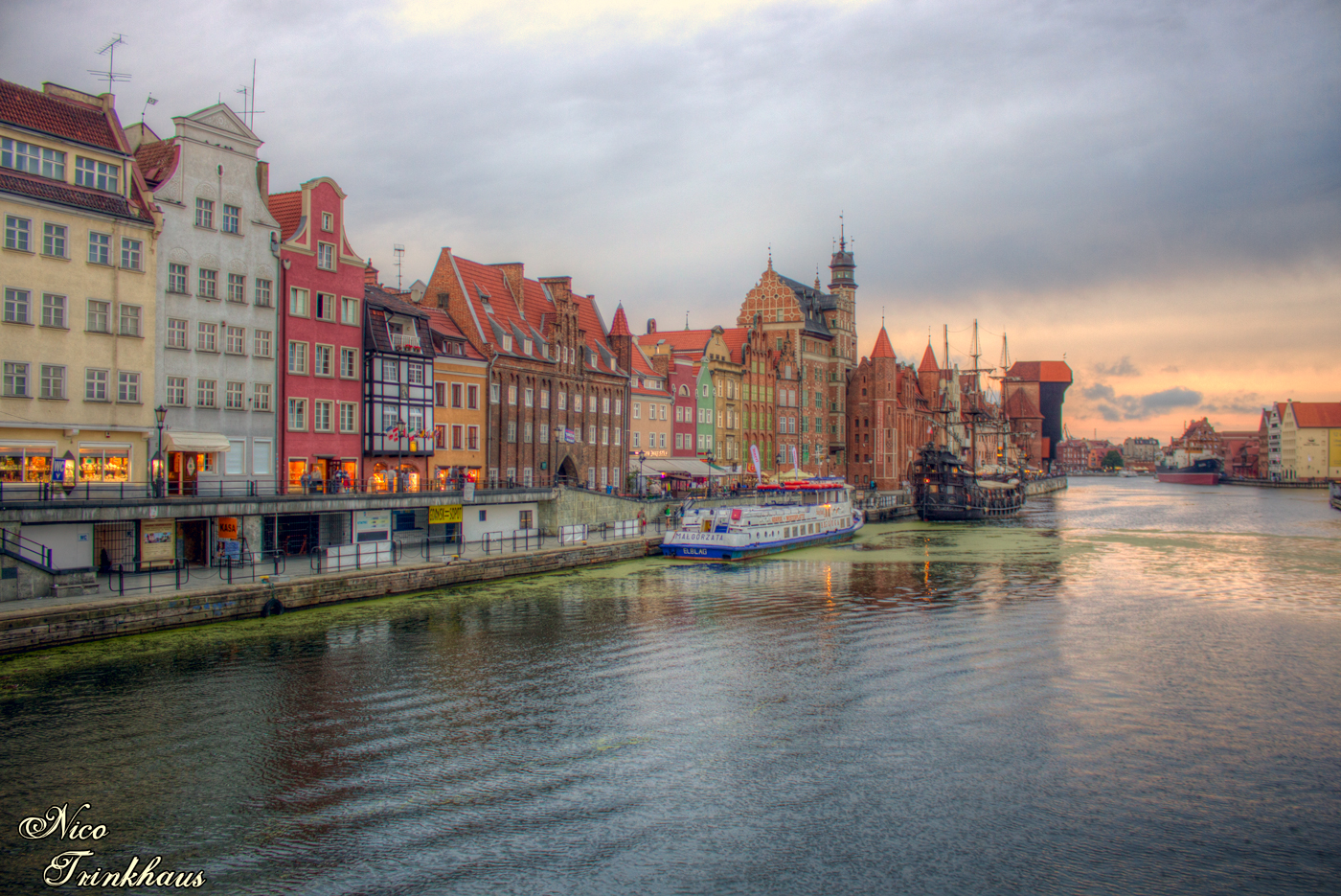 Soft Sunset on the Riverbanks of the Old Town in Gdansk / Danzig, Poland